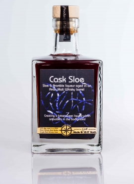 cask sloe sloe and bramble liqueur aged in a bere barley whisky cask