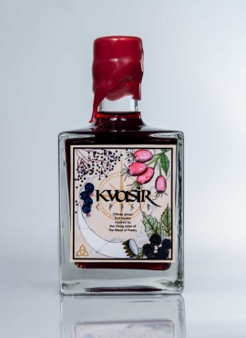 Kvasir viking mead of poetry inspired fruit liqueur made with aronia and salal.